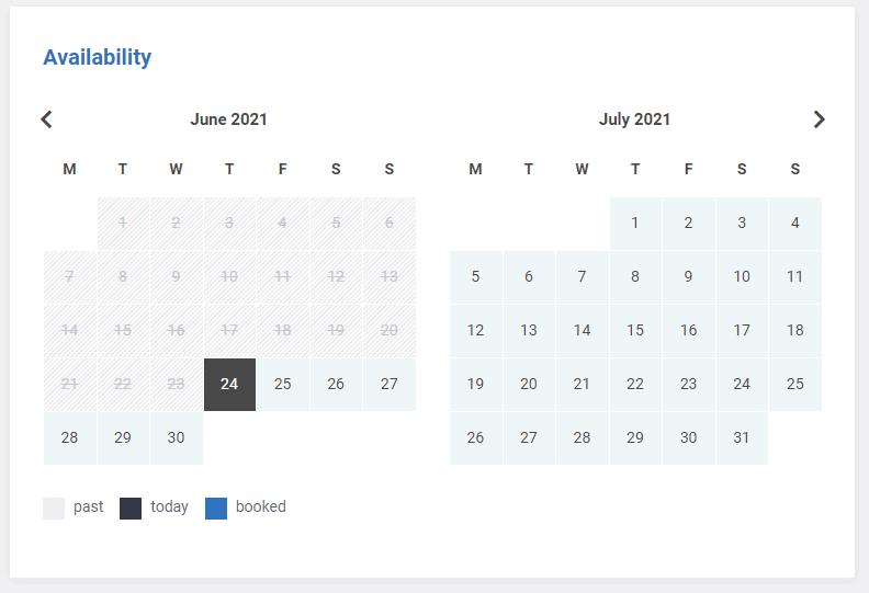 Thailand Rentals Availability Calendar